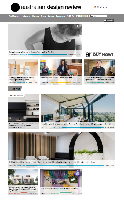 australian design review website first page