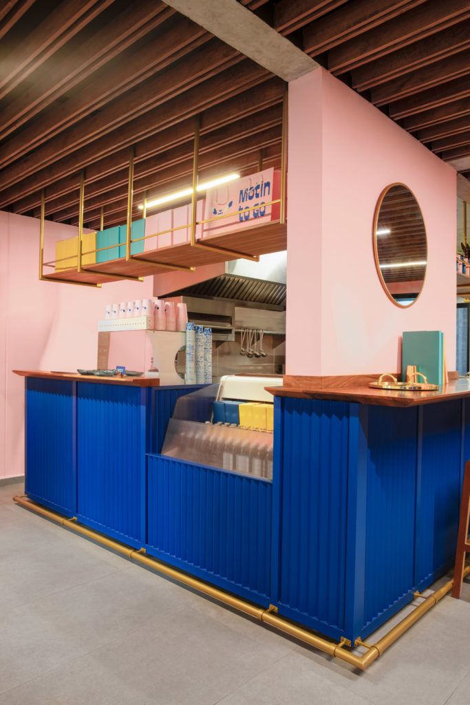 Counter blue and pink wall