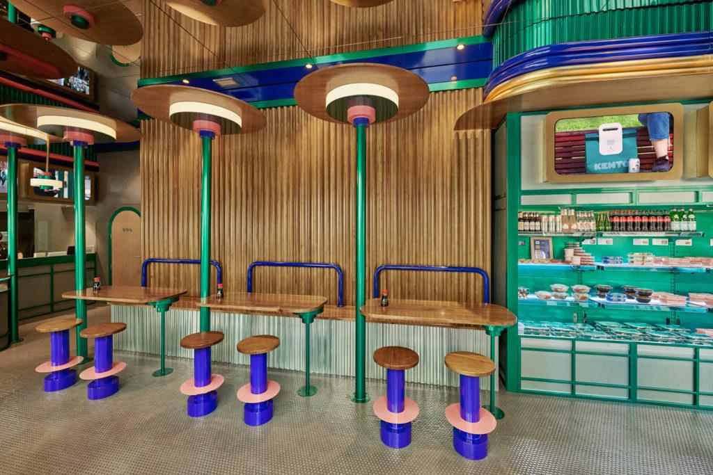 Japanese restaurant timber cladding and green aluminium