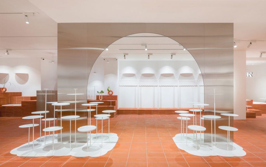 interior design cafe with orange tiles
